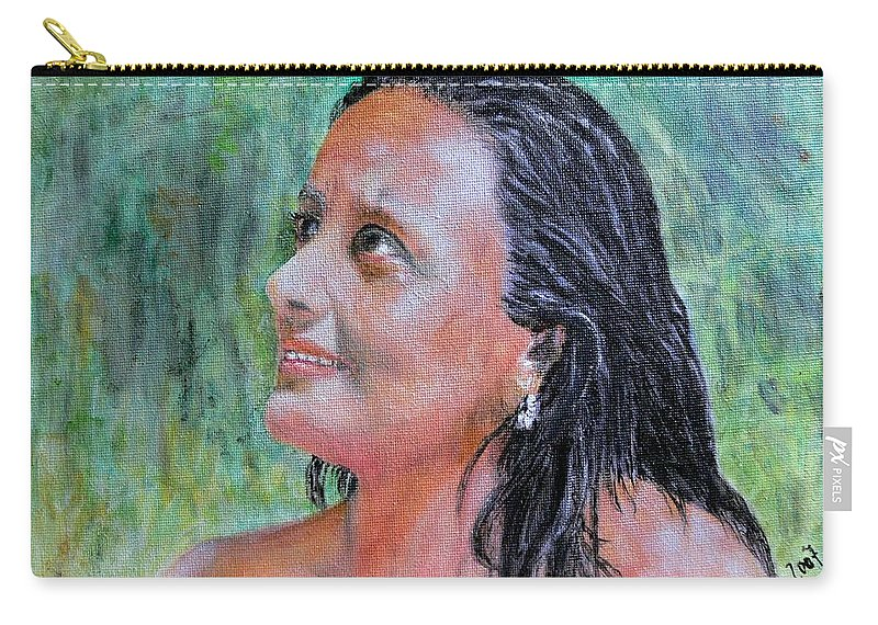 Lady Carry-all Pouch featuring the painting Lady Of India by Helmut Rottler