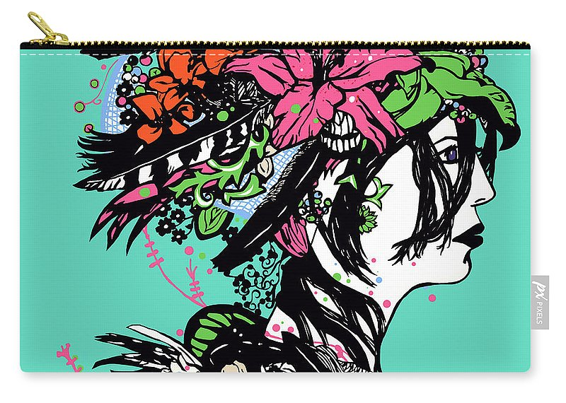 Marker Drawing Carry-all Pouch featuring the digital art Lady Of The Garden by Sara Matthews