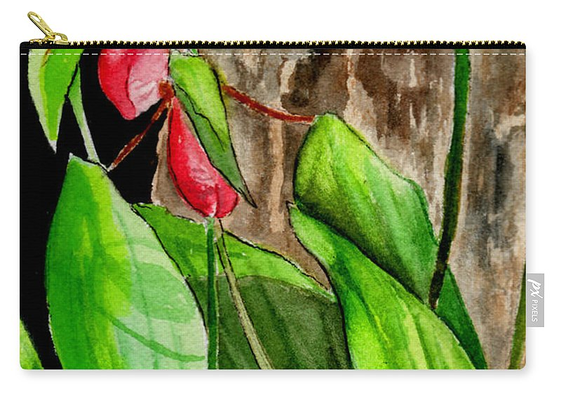 Watercolor Carry-all Pouch featuring the painting Lady Slippers by Brenda Owen