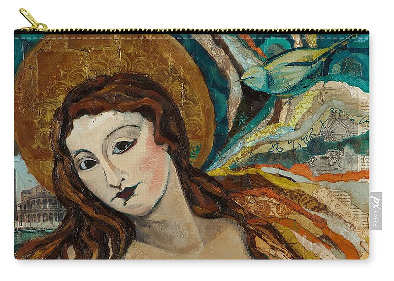 Figure Carry-all Pouch featuring the mixed media Lady With Bird by Michele Norris