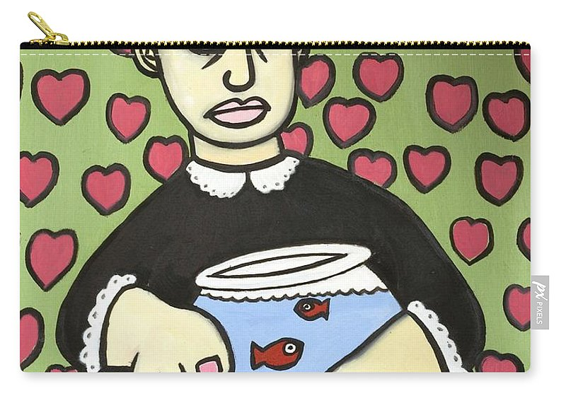 Carry-all Pouch featuring the painting Lady With Fish Bowl by Thomas Valentine