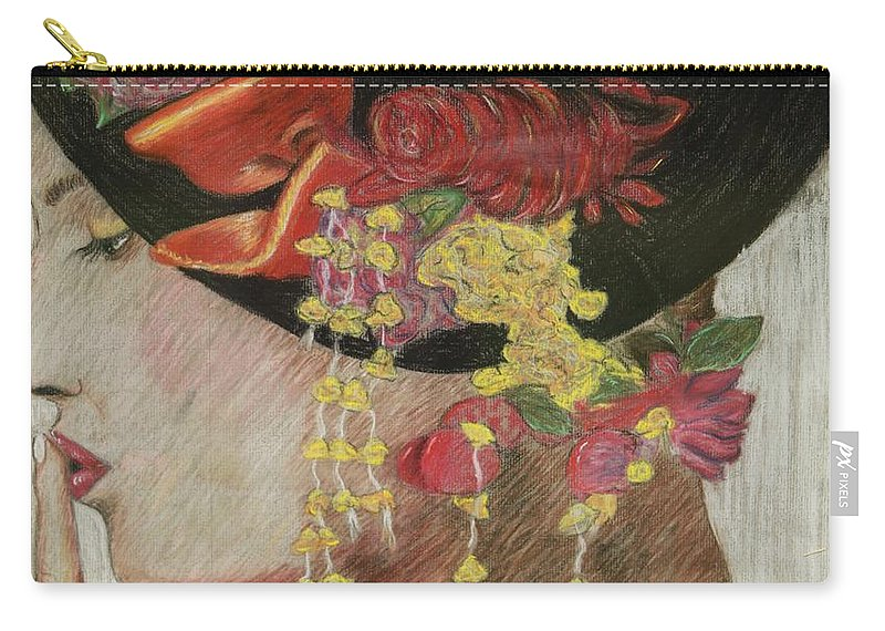Lady With Hat Carry-all Pouch featuring the drawing Lady With Hat by Jacqueline Athmann