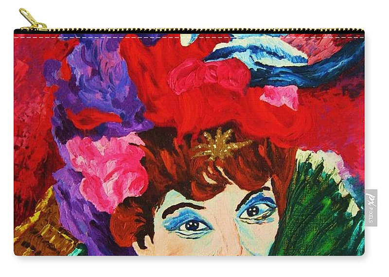 Red Hats Carry-all Pouch featuring the painting Lady With The Red Hat by Carole Spandau