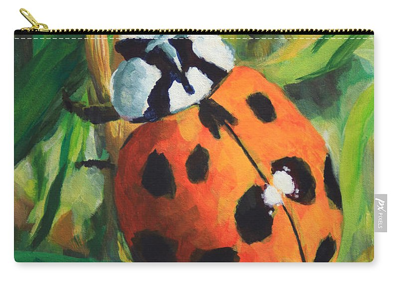 Ladybug Carry-all Pouch featuring the painting Ladybug by John Wallie