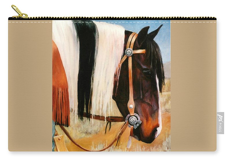 Paint Carry-all Pouch featuring the painting Ladys Jewels Horse Painting Portrait by Kim Corpany