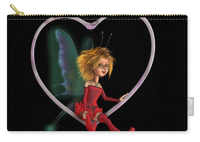 Love Fairy Drawing By John Junek Carry-all Pouch featuring the digital art Laerinu The Love Fairy by John Junek