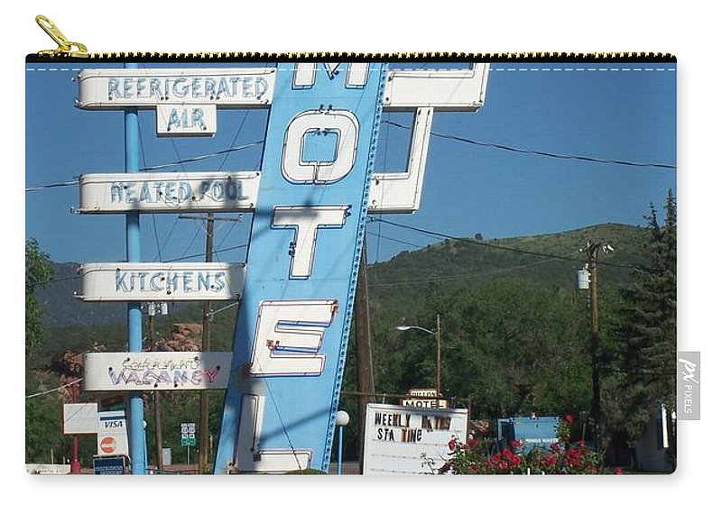 Vintage Motel Signs Carry-all Pouch featuring the photograph Lafon Motel by Anita Burgermeister