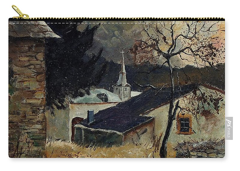Tree Carry-all Pouch featuring the painting Laforet Ardennes Village by Pol Ledent