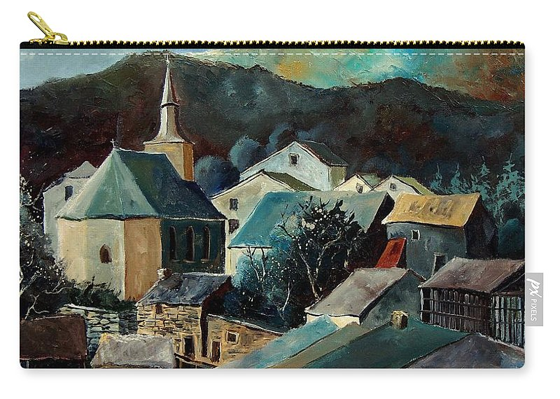 Landscape Carry-all Pouch featuring the painting Laforet Village by Pol Ledent