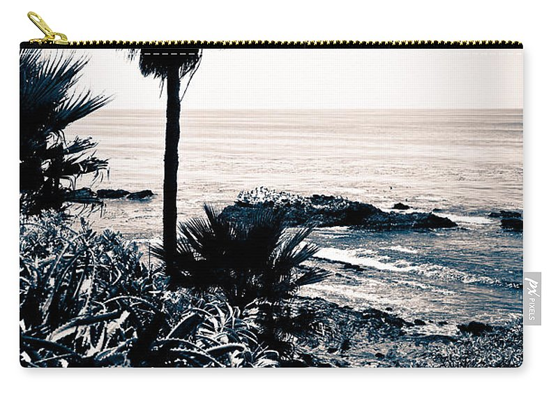 America Carry-all Pouch featuring the photograph Laguna Beach California Black And White by Paul Velgos