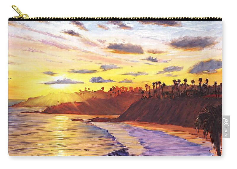 Laguna Beach Carry-all Pouch featuring the painting Laguna Village Sunset by Steve Simon