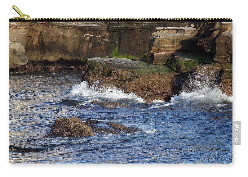 Ocean Carry-all Pouch featuring the photograph Lajolla Rocks by Margie Wildblood