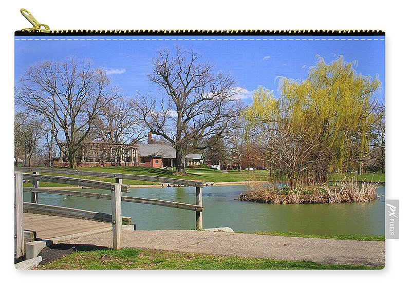 Lake Carry-all Pouch featuring the photograph Lake At Schiller Park by Laurel Talabere
