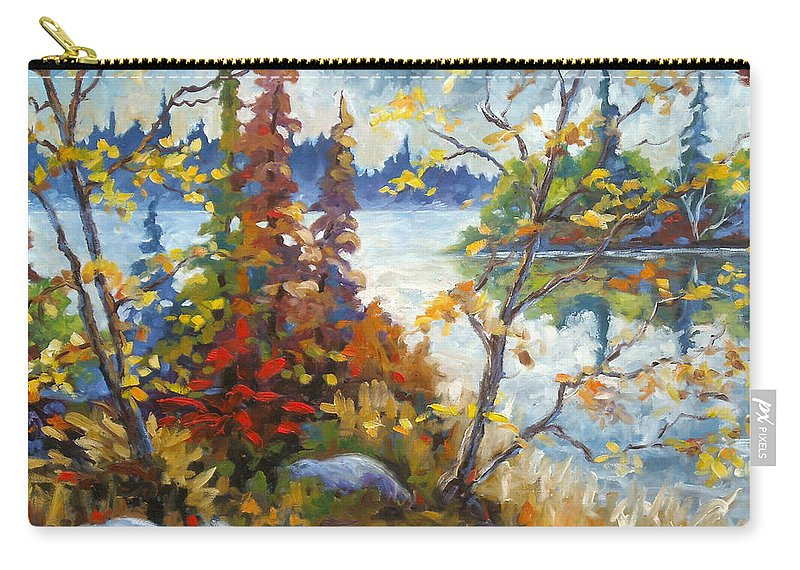 Trees Carry-all Pouch featuring the painting Lake Cartier by Richard T Pranke