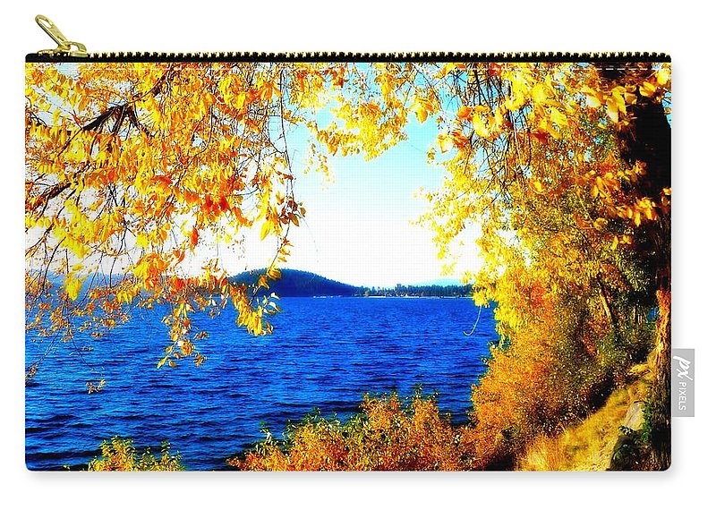 Lake Coeur D' Alene Carry-all Pouch featuring the photograph Lake Coeur D'alene Through Golden Leaves by Carol Groenen
