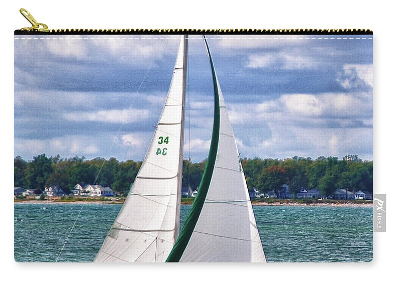 Boat Carry-all Pouch featuring the photograph Lake Erie Sailing 8092h by Guy Whiteley