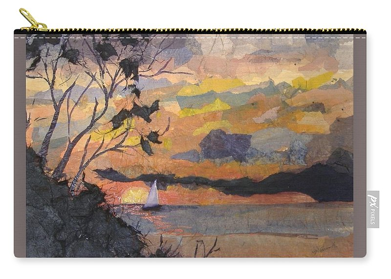 Seascape Carry-all Pouch featuring the mixed media Lake Erie Sunset by Pat Snook