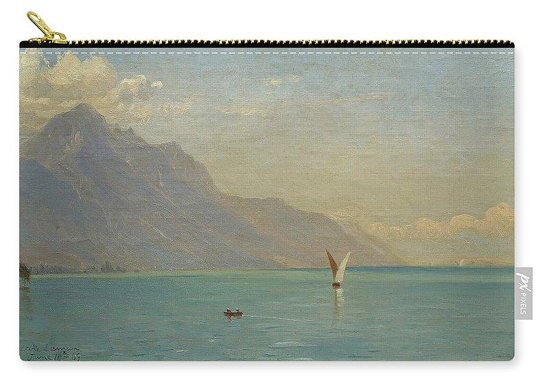John Ferguson Weir Carry-all Pouch featuring the painting Lake Geneva. Switzerland by John Ferguson Weir