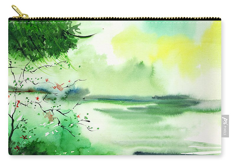 Water Carry-all Pouch featuring the painting Lake In Clouds by Anil Nene