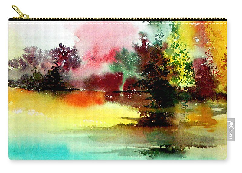 Nature Carry-all Pouch featuring the painting Lake In Colours by Anil Nene