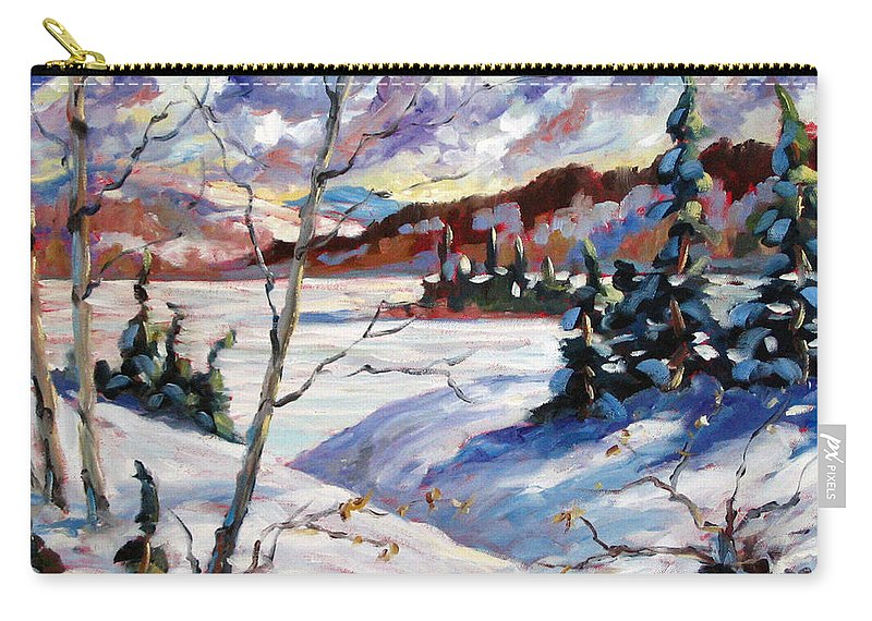 Lake Carry-all Pouch featuring the painting Lake In Winter by Richard T Pranke