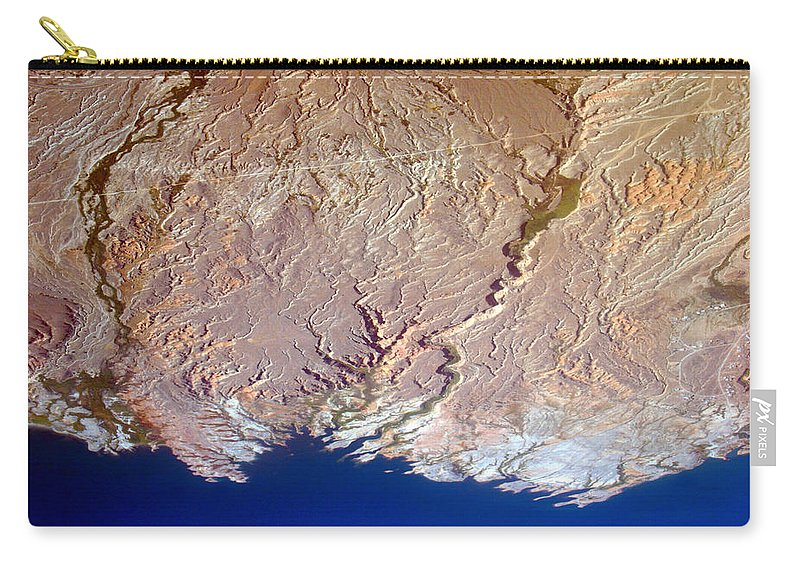 Aerial Carry-all Pouch featuring the photograph Lake Mead - Planet Art by James BO Insogna