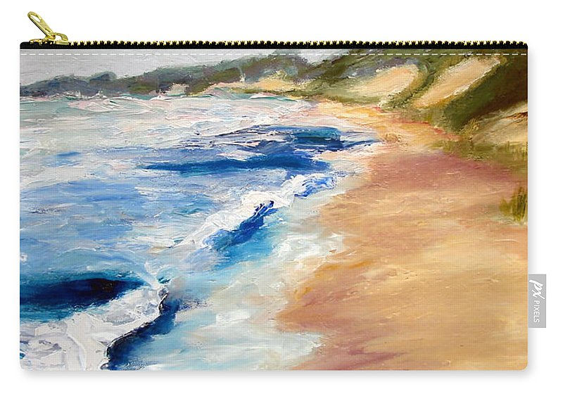 Whitecaps Carry-all Pouch featuring the painting Lake Michigan Beach With Whitecaps Detail by Michelle Calkins