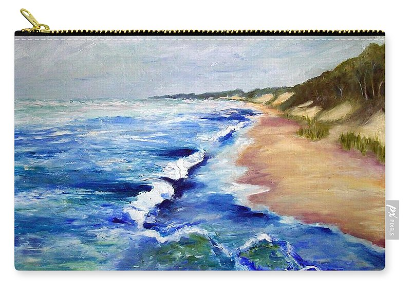 Whitecaps Carry-all Pouch featuring the painting Lake Michigan Beach With Whitecaps by Michelle Calkins