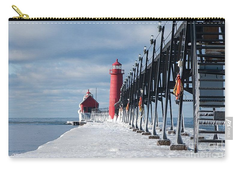 Lighthouse Carry-all Pouch featuring the photograph Lake Michigan Ice by Ann Horn