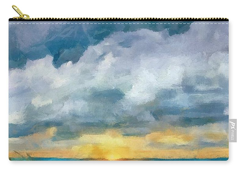Golden Carry-all Pouch featuring the painting Lake Michigan Sunset by Michelle Calkins