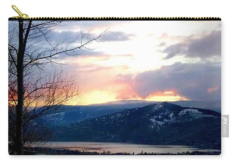 Sunset Carry-all Pouch featuring the photograph Lake Okanagan Sunset At Vernon by Will Borden