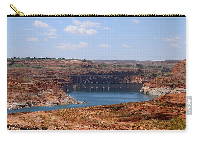 Lake Carry-all Pouch featuring the photograph Lake Powell And Glen Canyon Dam by Christiane Schulze Art And Photography