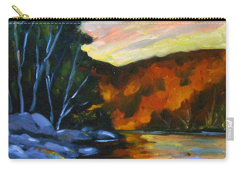 Art Carry-all Pouch featuring the painting Lake Reflections by Richard T Pranke