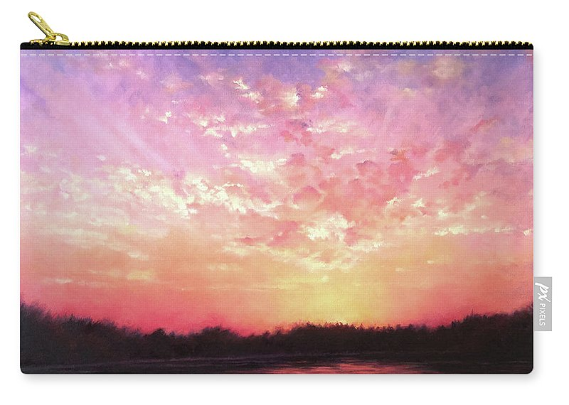 Landscape Carry-all Pouch featuring the painting Lake Sunset by Teri Rosario
