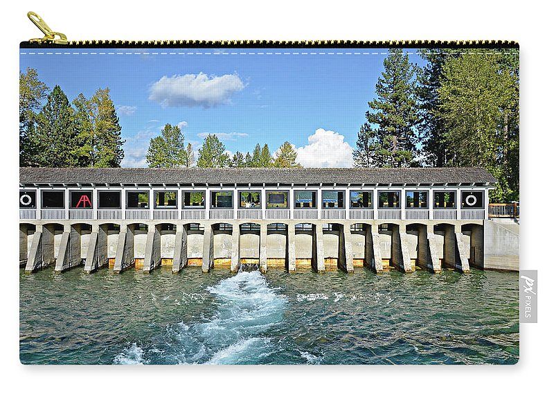 David Lawson Photography Carry-all Pouch featuring the photograph Lake Tahoe Dam by David Lawson