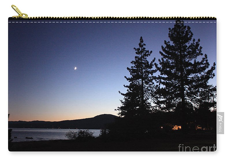 Lake Tahoe Sunset Carry-all Pouch featuring the photograph Lake Tahoe Sunset With Trees And Black Framing by Carol Groenen