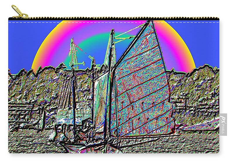 Seattle Carry-all Pouch featuring the photograph Lake Union Rainbow Sail by Tim Allen