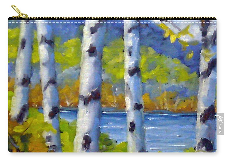 Original Painting;oil; Landscape; Birches; Trees; Nature; Richard T Pranke; Lake Carry-all Pouch featuring the painting Lake View by Richard T Pranke