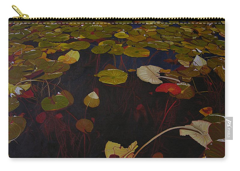 Water Carry-all Pouch featuring the painting Lake Washington Lilypad 7 by Thu Nguyen