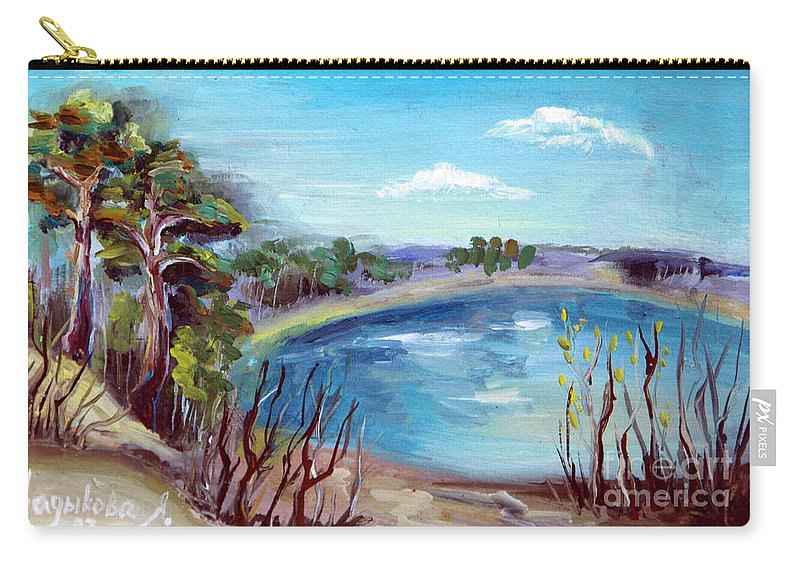 Forest Carry-all Pouch featuring the painting Lake by Yana Sadykova