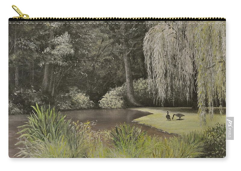 Jennerstown Mountain Playhouse Carry-all Pouch featuring the painting Lakeside At Mountain Playhouse by Penny Neimiller