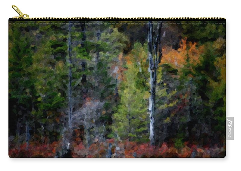 Digital Photograph Carry-all Pouch featuring the photograph Lakeside In The Autumn by David Lane