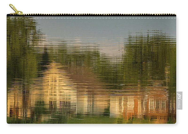 Reflection Carry-all Pouch featuring the photograph Lakeside Living On Wiggins Lake - Abstract by Tom Clark
