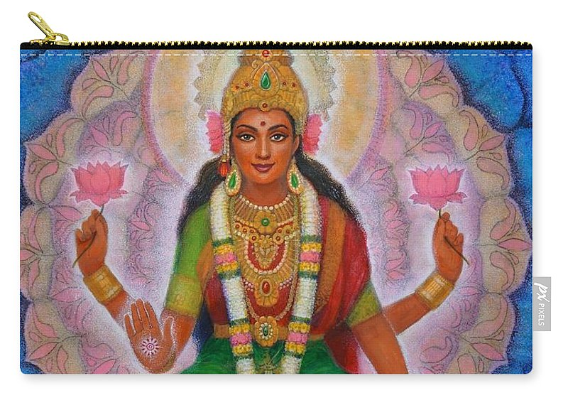 Lakshmi Carry-all Pouch featuring the painting Lakshmi Blessing by Sue Halstenberg