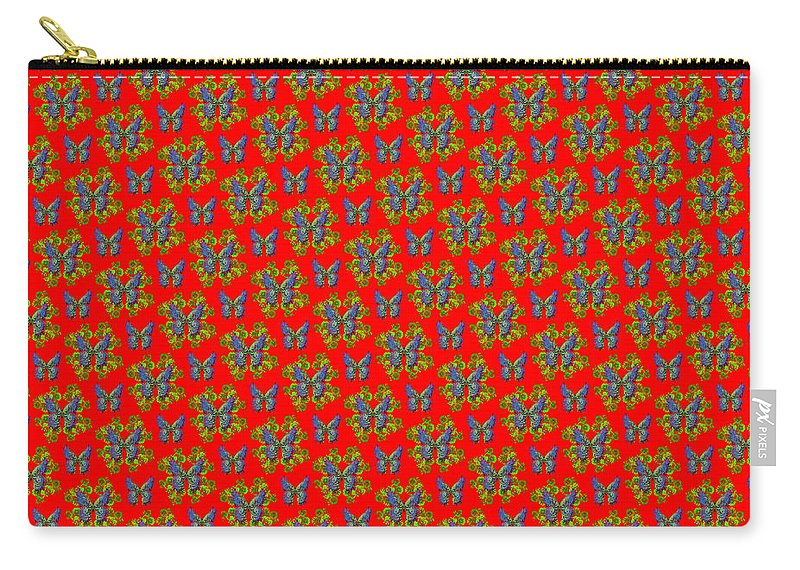 Butterfly Carry-all Pouch featuring the digital art Lalabutterfly Red Reduced Scale by Deborah Runham