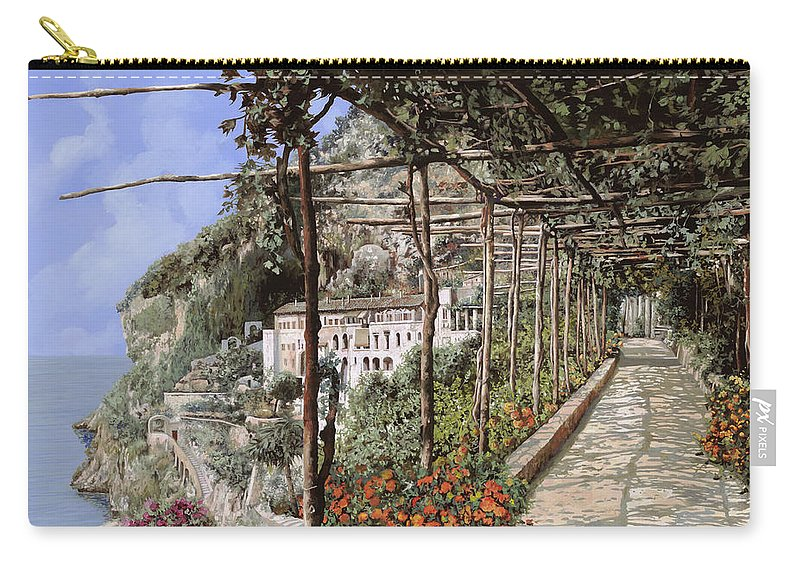 Landscape Carry-all Pouch featuring the painting L'albergo Dei Cappuccini-costiera Amalfitana by Guido Borelli