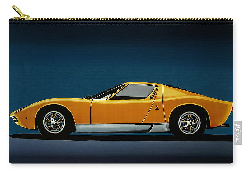 Lamborghini Miura 1966 Painting Carry All Pouch For Sale By Paul