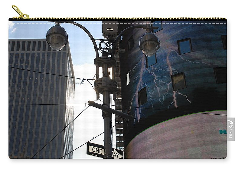 Scenic Carry-all Pouch featuring the photograph Lampost And Lightning by Rob Hans