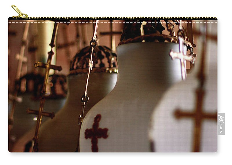 Lamp Carry-all Pouch featuring the photograph Lamps Inside The Church Of The Holy Sepulchre, Jerusalem by Idan Badishi