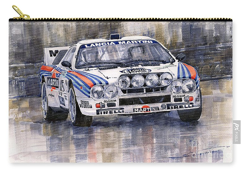 Watercolor Carry-all Pouch featuring the painting Lancia 037 Martini Rally 1983 by Yuriy Shevchuk